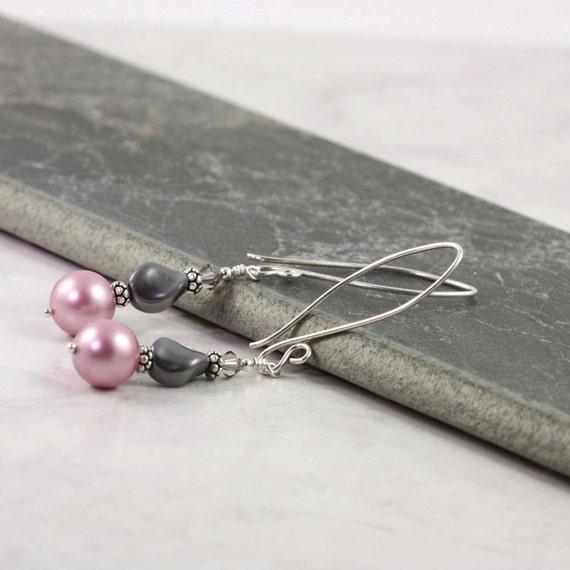 Pearl Earrings Pastel Pink Dusty Rose Smoke Gray Mauve Fancy Sterling Silver Prom Jewelry