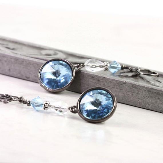 Aqua Crystal Earrings Blue Gray Gunmetal Drops