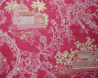 12 x 17 1/2 inch decorator fabric sample red and white green  Pearson