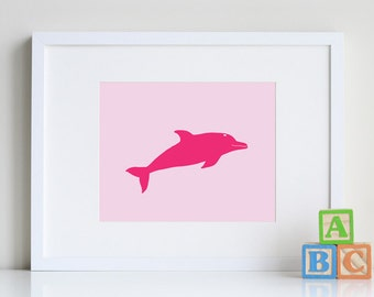 Dolphin art, Sea life wall art girls room decor 8 x 10 - different colors and sizes available