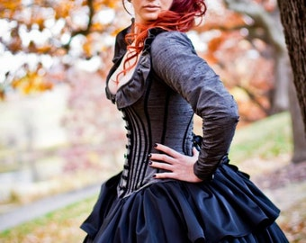 Alternative Wedding Gown Steampunk Corset Jacket Dress- Custom to Order