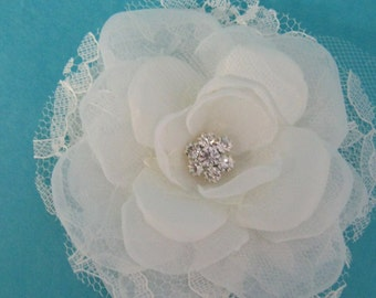 Bridal Hair Flower,  Ivory Lace and Organza Rose Hair Clip  J202, bridal wedding hair accessory