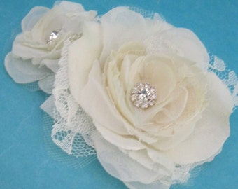 Bridal Hair Rose set, Ivory Lace and Organza Rose Set J110, bridal hair accessory