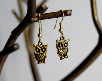 Golden Owl Earrings | Owl Charm Earrings | Cute Owls | SALE!