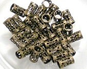 Filigree Tube Beads Antiqued Solid Brass 8 x 4mm with 4mm ID 45 pcs BD-218AGP drog