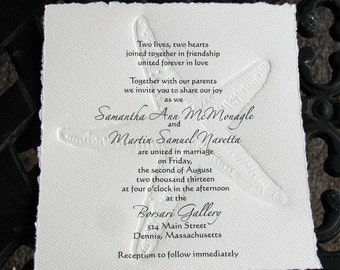 50 Letterpress Starfish Invitation-perfect for Bridal Shower or for Beach Wedding