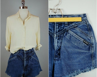Vintage HIGH WAISTED cut off jean shorts / ROCKIES cut off shorts