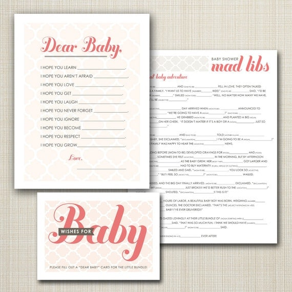baby shower printable mad libs game and wishes for baby sweet chic