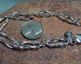 Handmade Love Knot Argentium Silver Bracelet 8 1/2 Inches in Length
