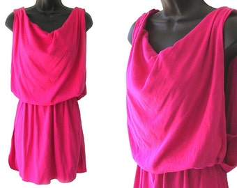 80s Pink Open Sides Cowl Neckline Active Wear Sleeveless Top S M