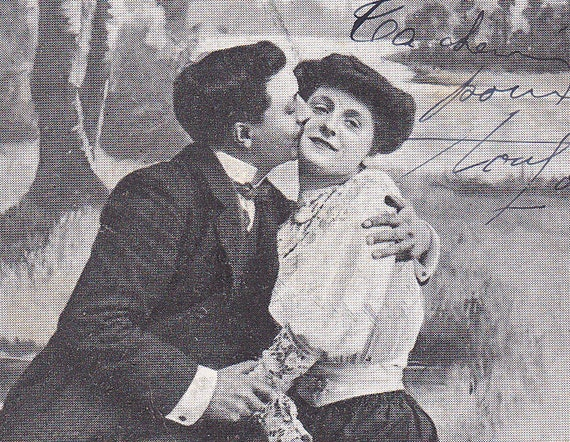 1900s French postcard, Couple kissing paper ephemera.