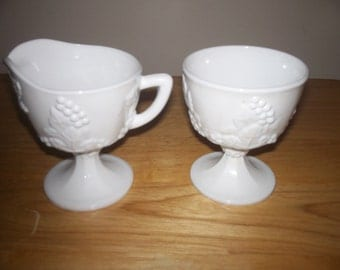 Milk glass sugar and creamer