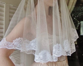 Fifth Element White wedding veil with Beautiful French lace edges white mantilla veil white lace veil white tulle veil