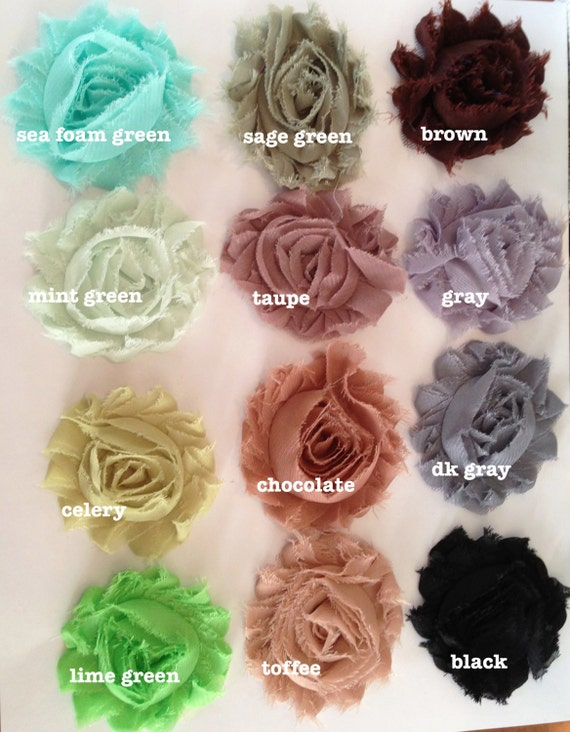Chiffon Shabby Rose Trim-3 Yards 2 1/2 inches YOUR CHOICE of COLORS-1 Yard Pieces