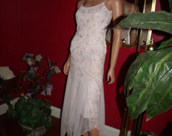 Vintage Dress Flapper Art Deco  Tulle exclusive  beaded   Evening Holiday  Wedding Size 2