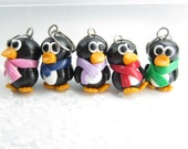 Cute Penguin Stitch Markers (Set of 5) knitting stitch markers polymer clay penguin charms knit