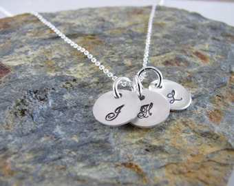 Initial  Necklace - 3 Itty Bitty Disk - Hand Stamped, Sterling Silver - Personalized - Hand Made