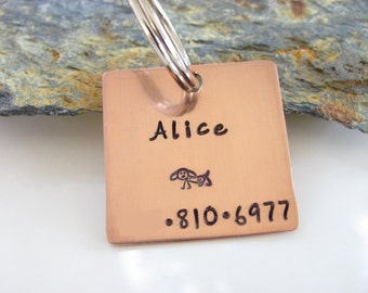 Pet ID Tag, Hand Stamped, Copper - I am not SQUARE - Custom - Square
