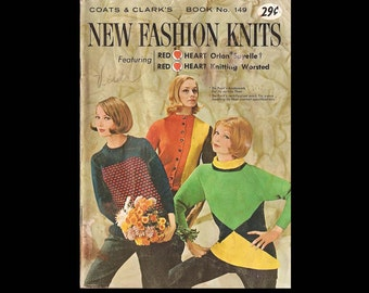 Coats and Clark's Book no. 149 New Fashion Knits - Vintage Craft Book c. 1964