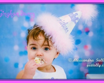 Princess Number/Crown,  First Birthday Hat,  2nd Birthday Hat,  You Choose Colors,      by GINGHAM BUNNY