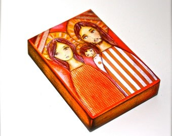 Holy Family - ACEO Giclee print mounted on Wood (2.5 x 3.5 inches) Folk Art  by FLOR LARIOS