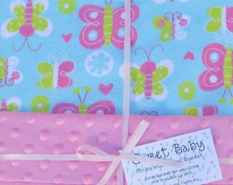 Large Butterfly Flannel and Minky Dot Baby Blanket - 34 X 40