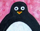 Happy Penguin - Original painting canvas
