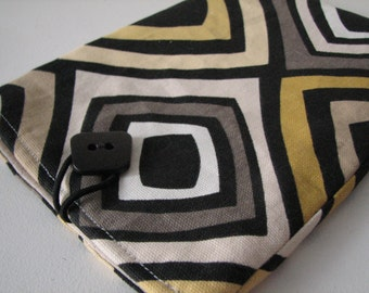 Quilted E reader sleeve Case, Black and Yellow