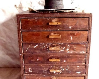 Antique Primitive Machinist Wood Cabinet Featuring 7 Drawers for Storage