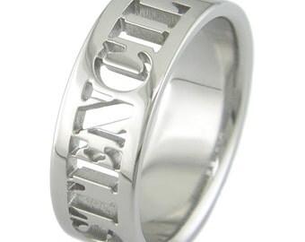 Stencil Custom Laser Cut Titanium Ring