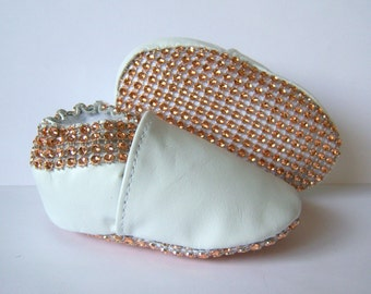 baby shoes champagne Bling shoes faux Swarovski