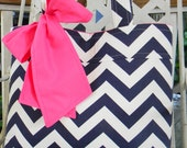Navy Blue Chevron Tote Bag, Every Day Bag, Diaper Bag  with a  Big Hot Pink Bow