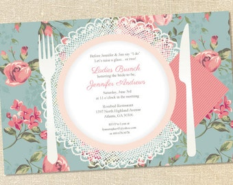 Sweet Wishes Vintage Roses Bridal Brunch Luncheon Invitations - PRINTED - Digital File Also Available
