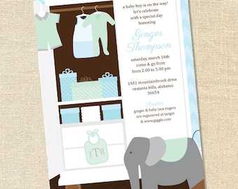 Sweet Wishes Stock the Closet Boy's Baby Shower Invitations - PRINTED - Digital File Also Available