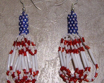 Stars And Stripes Earrings Hand Made Seed Beaded