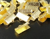 CLEARANCE OVERSTOCK SALE Ribbon End Crimps 50 Gold Color Jewelry Connectors 13mm x 7mm x 5mm (1018con13d1)os
