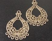 REDUCED Earring Chandelier 12 Pendant Charm Antique Bronze 7 Dangle Holes Flat 34mm NF (1047ear34z1)xz