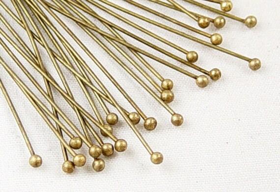 Ball Headpins 25 Ball Pins Antique Bronze 2.75 inch (70mm) 21 gauge (1034pin70z1)