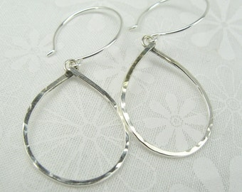 GEOMETRIC TEARDROP EARRINGS, sterling silver tear drop shape earrings