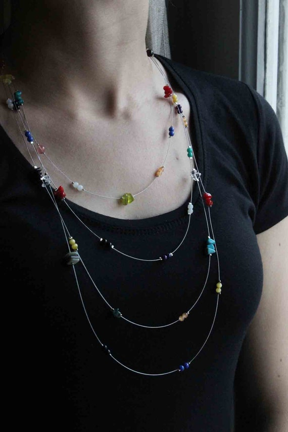 Multicolour Necklace, colorful gems, Perfect for Spring Summer Autumn Winter, Colorful, Fresh Vibrant colors, To wear all day