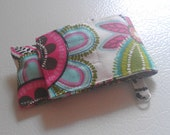 Pink White Black Multicolor Flower Print Fabric Chapstick Case Cozy USB Keychain