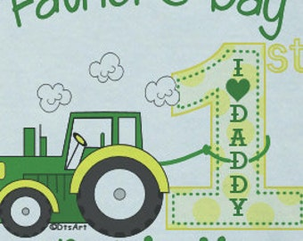 Happy First 1st Father's Day Onsie LOVE w/ Babies Name  Iconic Green Tractor Custom PERSONALIZED w/ Name Great Baby Gift for NEW Daddy