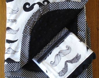Black and White Mustache Blanket and Burp Cloth ....PERSONALIZATION AVAILABLE