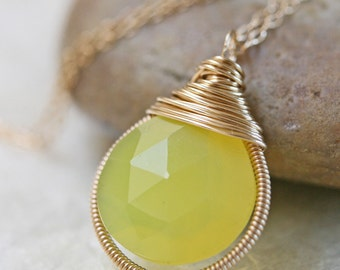 Chalcedony Necklace -  Yellow Chalcedony - Bezel Pendant - Yellow Stone Necklace