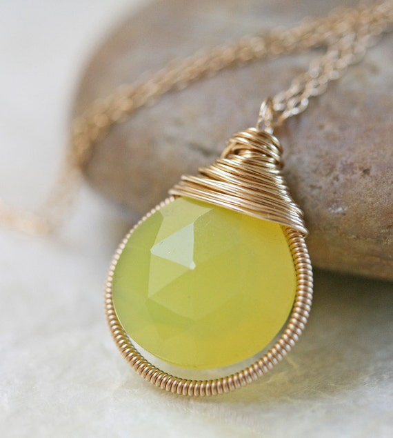 Chalcedony Necklace -  Yellow Chalcedony - Bezel Pendant - Yellow Stone Necklace