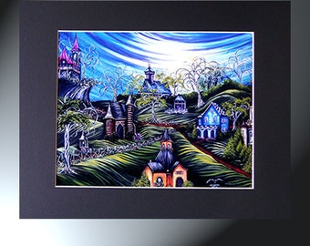 Art Print of Original Fantasy Landscape Countryside With Houses Paintin Black Matted To 11x14