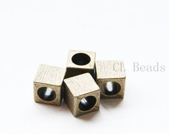 6pcs Antique Brass Tone Base Metal Spacers-Cube 10x10mm (8051Y-B-438)
