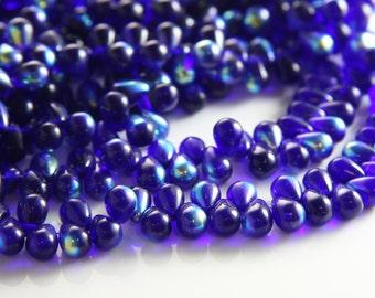 50pcs Czech Glass Tear Drops-Cobalt AB 8x6mm (86X3009) (B-8-20)