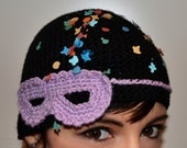 Mask, ribbon bow and confetti - Wool crochet knit hat, skullcap, beanie, headband - Made to order