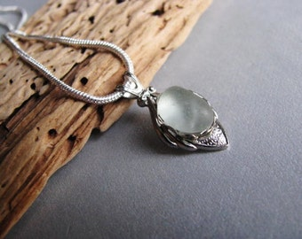 Sea Glass Necklace - Seafoam Sea Glass - Beach Glass Necklace - Sterling Silver Bezel